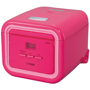 JAJ-A Series 3-Cup Micom Rice Cooker With Tacook Cooking Plate Pink Color