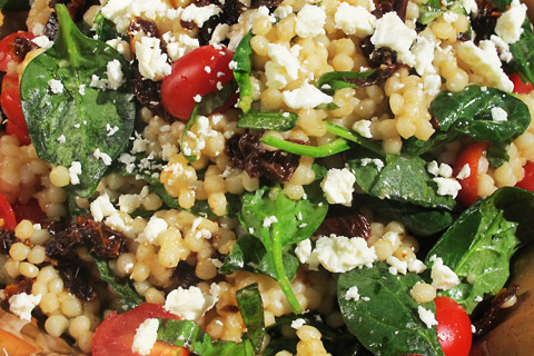 Pearl Couscous Salad With Tomatoes, Spinach and Feta