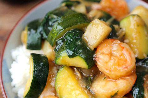 Shrimp, Potato and Zucchini Ankake Donburi