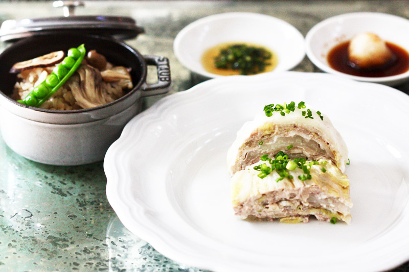 Pork and Napa Cabbage Mille-Feuille With Mushroom Rice