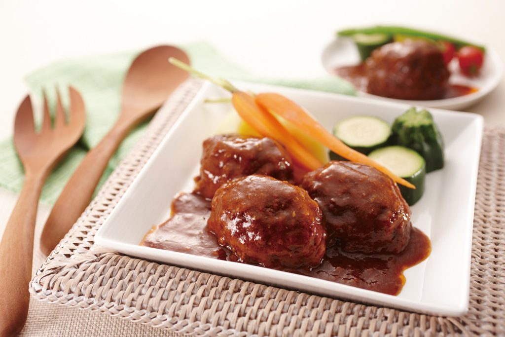 Mini Hamburg Steak - ハンバーグ - meatball sized Japanese hamburg steak with a deliciously sweet and tangy demi-glace sauce. #hamburgerpatties #ricecookerrecipes #meatball | Tiger USA