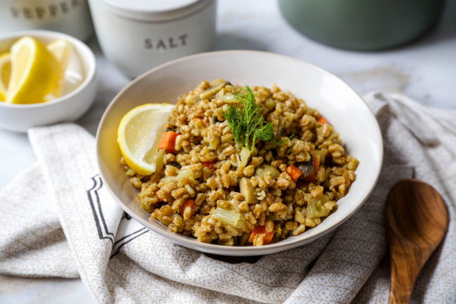 Mushroom and Fennel Farro Risotto