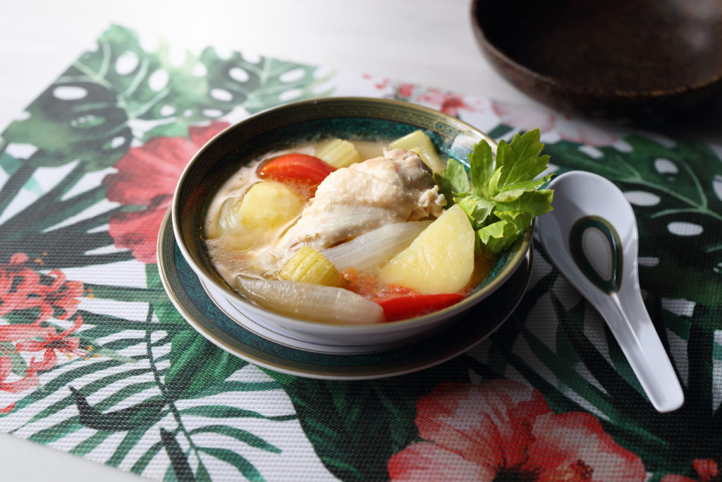 bowl of chicken soup, Indonesian style
