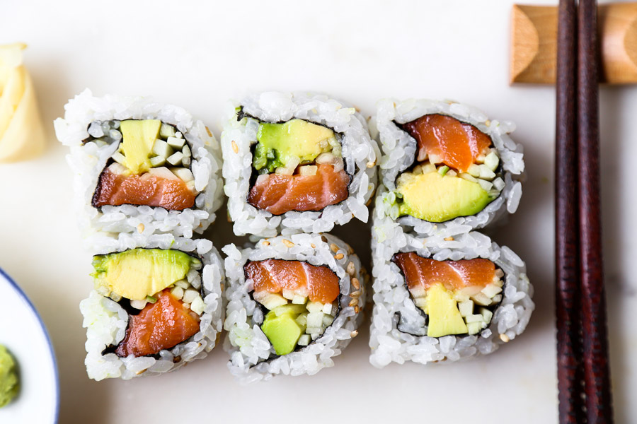 salmon avocado cucumber roll