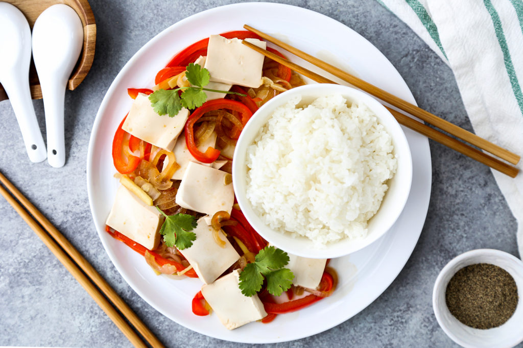 Ginger tofu with peppers