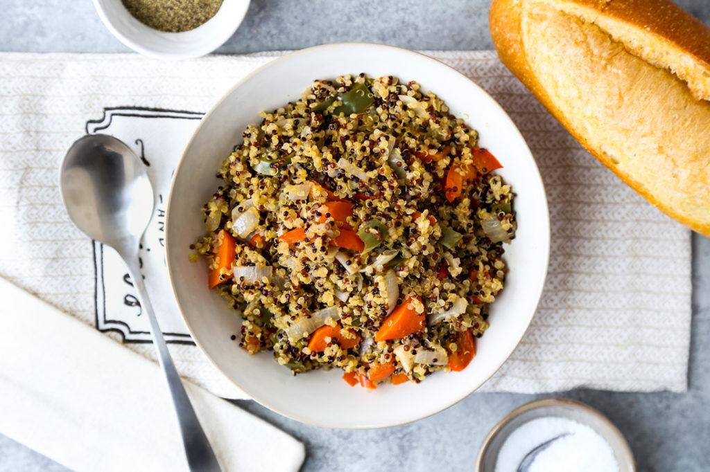 warm quinoa and vegetables