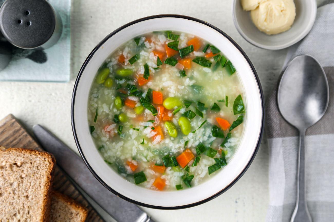 edamame carrot rice soup
