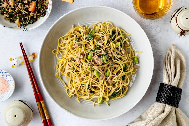 Rice Cooker Tuna Spinach Spaghetti