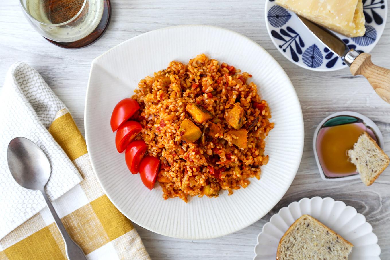 Brown Rice Tomato and Kabocha Risotto